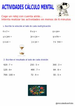 Interactive worksheet Cálculo mental 1