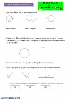 Interactive worksheet Rectas y ángulos