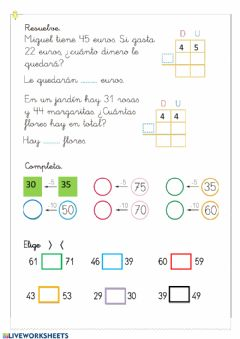 Interactive worksheet Matemáticas 1º
