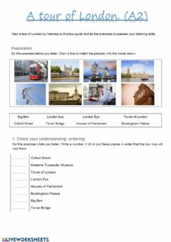Interactive worksheet A tour of London