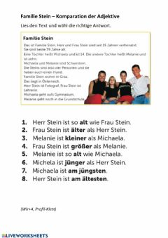 Interactive worksheet Familie Stein