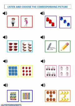 Interactive worksheet Listen and choose the corresponding picture