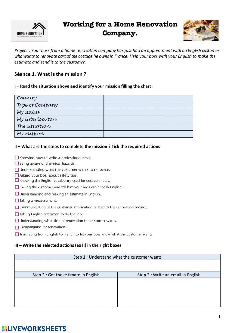Working In A Home Renovation Company Worksheet