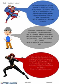 Interactive worksheet Reading superheroes marvel
