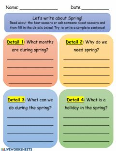 Interactive worksheet  Writing Spring