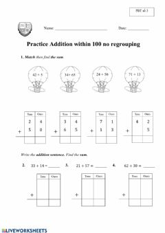 Interactive worksheet Practice Additon within 100 no regrouping