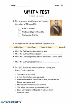 Interactive worksheet Spain in the 20th century