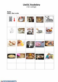 Interactive worksheet Recipe vocabulary