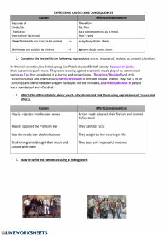 Interactive worksheet Causes and effects