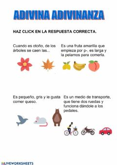 Interactive worksheet Adivinanzas 1ºep