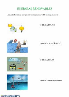 Interactive worksheet Energías renovables