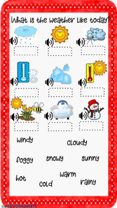 Interactive worksheet Weather Listen and write