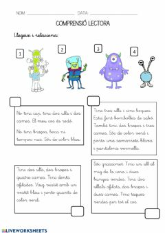 Interactive worksheet Comprensió lectora-aliens
