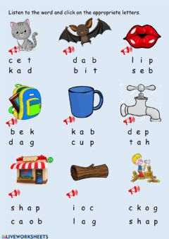 Interactive worksheet Three letters words