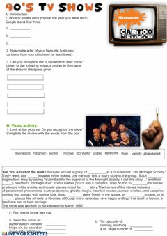 Interactive worksheet TV Shows