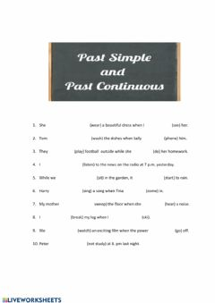 Interactive worksheet Past  simple vs. past continuous