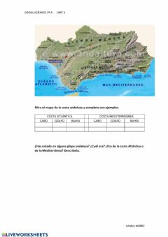 Interactive worksheet La costa andaluza