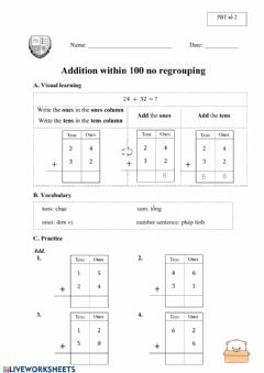 Interactive worksheet Addition within 100 no regrouping