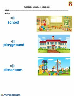 Interactive worksheet Places at School 1 - 4 year olds
