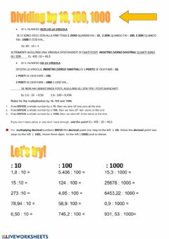 Interactive worksheet Dividing by 10,100,1000