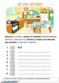 Interactive worksheet In the kitchen