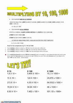 Interactive worksheet Multiplying by 10,100,1000