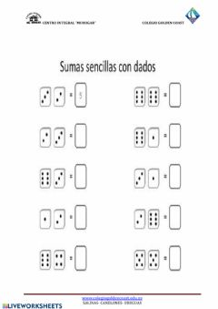 Interactive worksheet Sumas sencillas con dados
