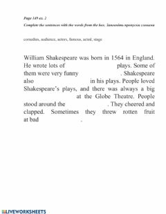 Interactive worksheet The Globe theatre