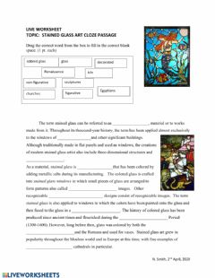 Interactive worksheet Stained Glass Art Cloze Passage
