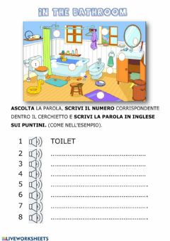 Interactive worksheet In the bathroom
