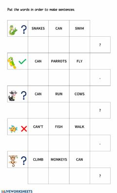 Interactive worksheet Can - Can't word order
