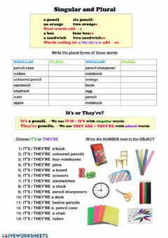 Interactive worksheet Singular and plural - school objects
