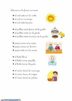 Interactive worksheet Lectura frases 1