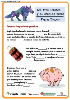 Interactive worksheet Los tres lobitos y el cochino feroz 4