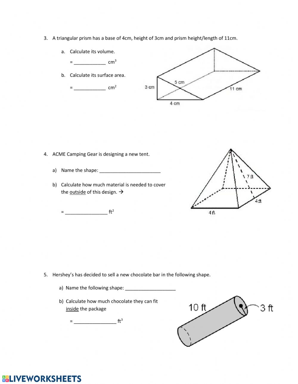 Review of Prisms & Pyramids worksheet