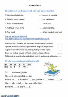 Interactive worksheet Vanasõnad