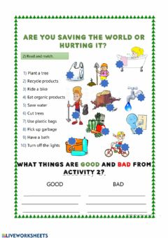 Interactive worksheet Are you saving the world or hurting it?