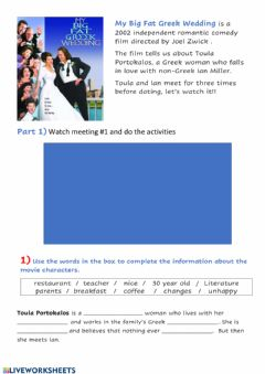 Interactive worksheet My big fat Greek Wedding