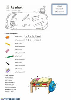 Interactive worksheet What's this? What colour is it?