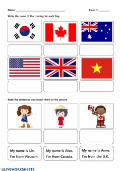 Interactive worksheet Where are you from
