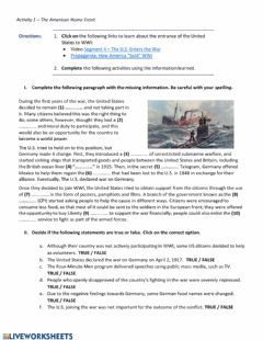 Interactive worksheet WWI - The American Home Front