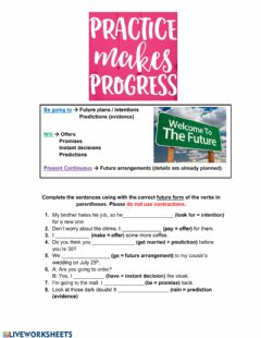 Interactive worksheet Let's Talk about the Future
