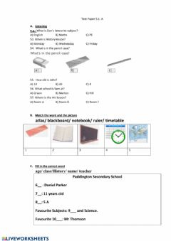 Interactive worksheet Test paper 1 spotlight