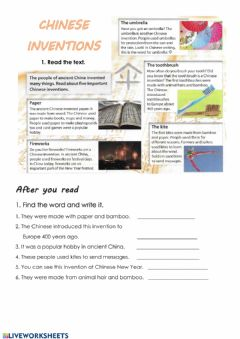 Interactive worksheet Reading: Chinese inventions