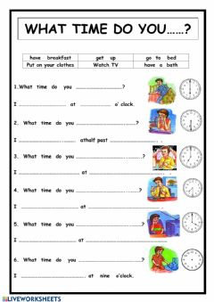Interactive worksheet What time do you...?