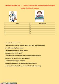 Interactive worksheet Beim Arzt
