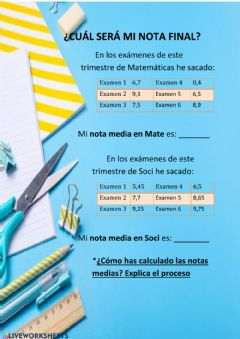 Interactive worksheet ¿CUÁL SERÁ MI NOTA FINAL? LA MEDIA