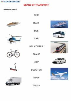 Interactive worksheet Means of transport-Read and match