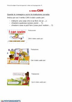 Interactive worksheet Il verbo CAN