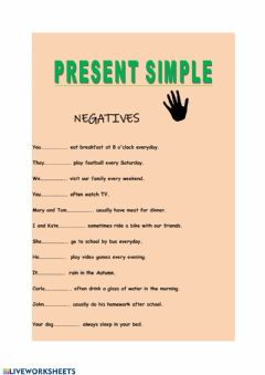 Interactive worksheet Present Simple - Negatives